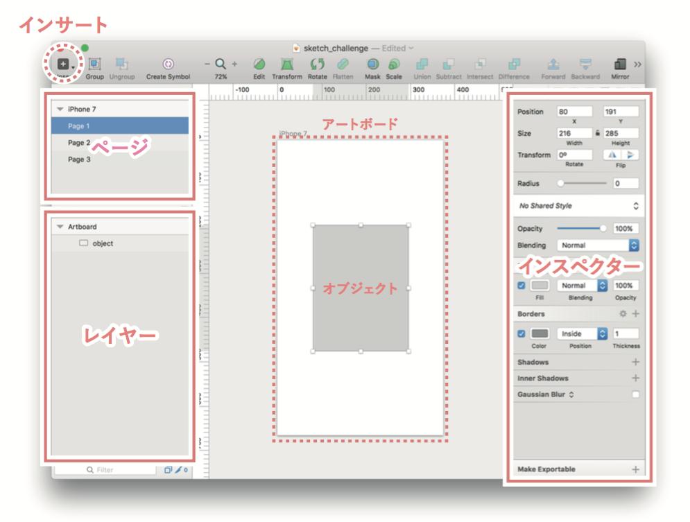sketchのインターフェース説明