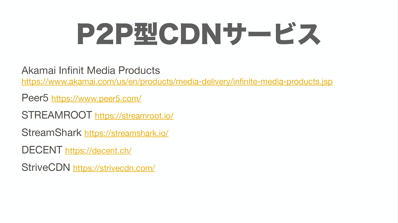 P2P 型 CDN サービス一覧を表示したスライド