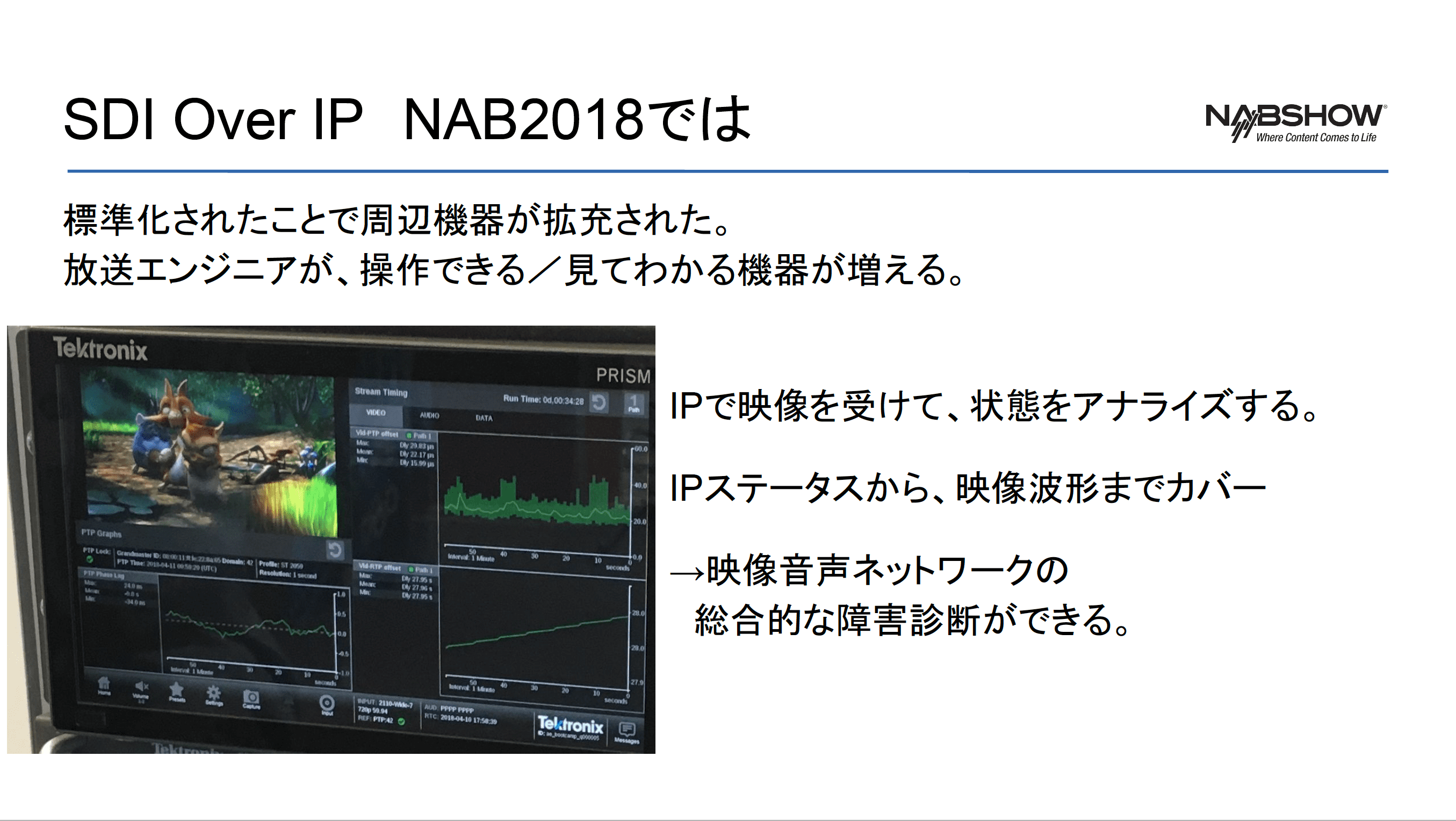 放送エンジニア・フレンドリーな SDI over IP 対応機器を紹介したスライド