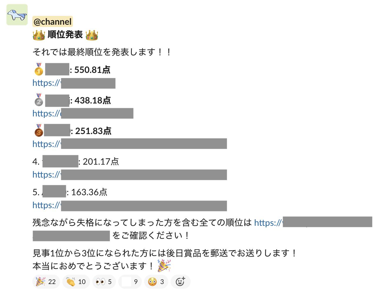 競技の最終順位を Slack で発表している様子