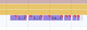 レンダリングを表す紫色の帯が10本程度, 太く発生している