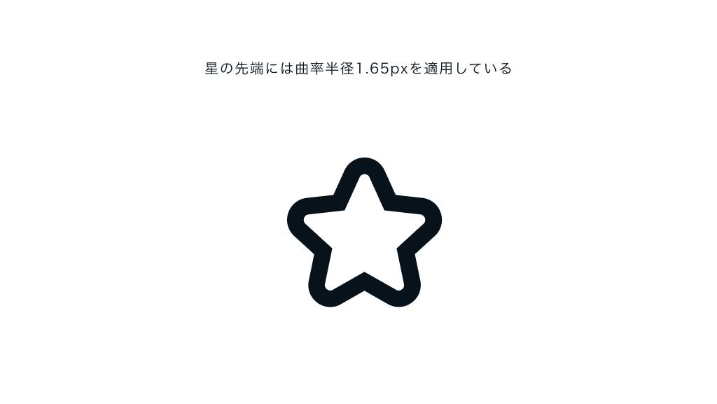 星の先端には曲率半径1.65pxを適用している