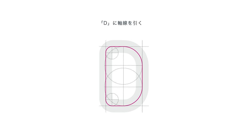 「D」に軸線を引く