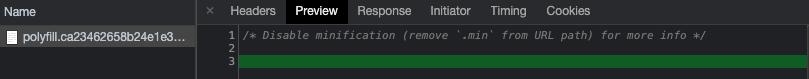 Chrome で見た polyfill.js の中身。コメント以外は何も書かれていない