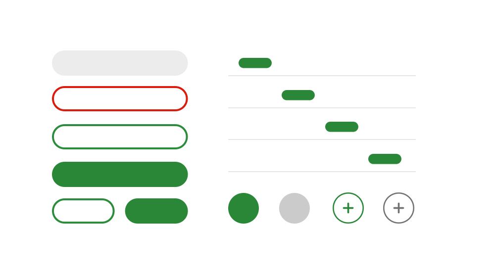 ボタンなどのコンポーネントの抽象的なイメージ図