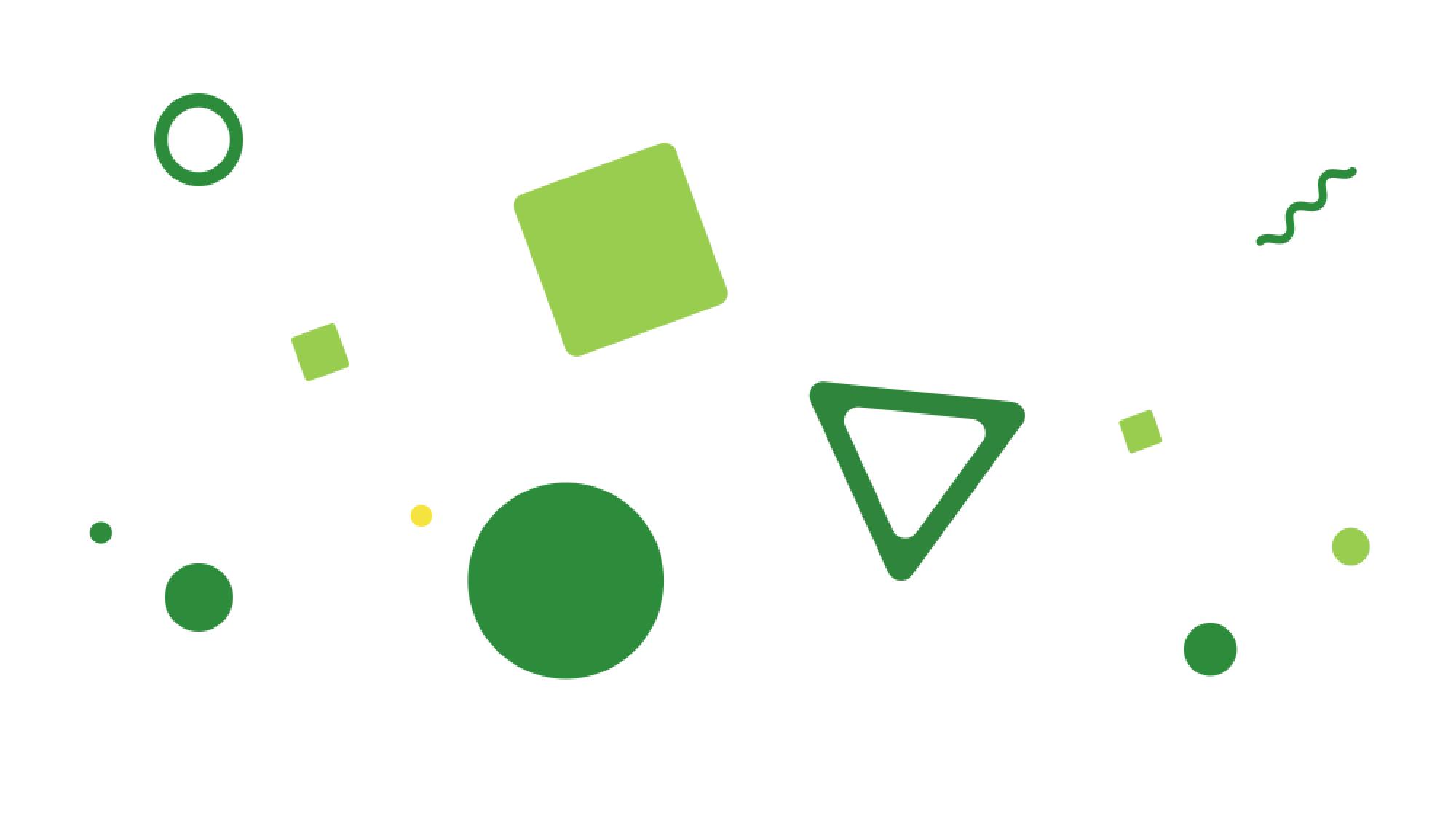 Spindleで定義されている抽象的な緑色の四角形、三角形、丸や波線などのイラスト図形が浮かぶイメージ図