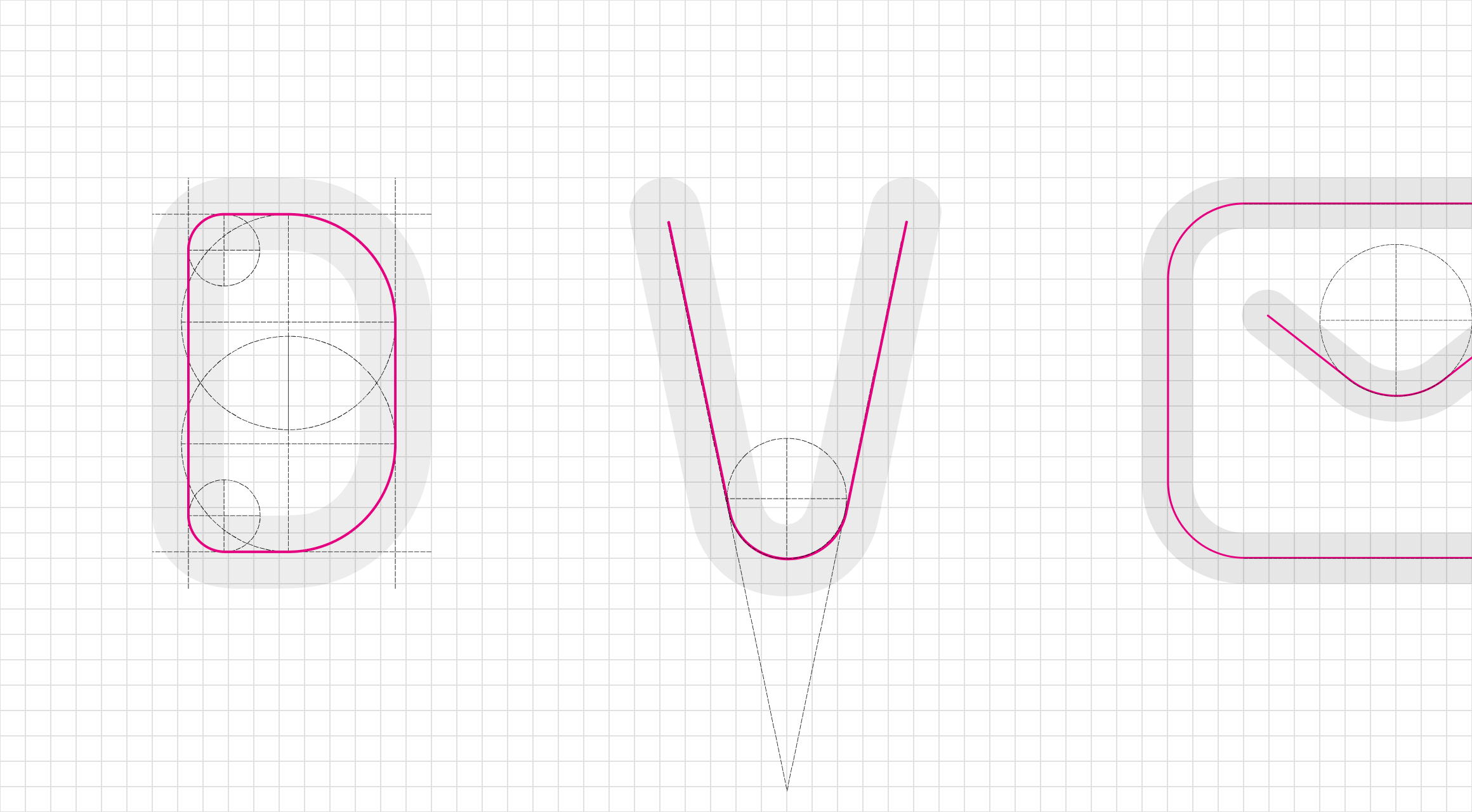 アイコンの造形の元となったAmeba Sansという書体の作りをイメージした図